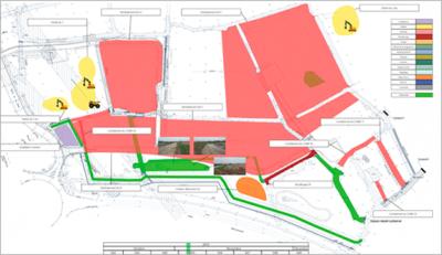 Abbildung eines Bauphasenplans zur Darstellung von Projektabläufen