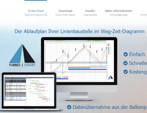 Bauablaufplan im Weg-Zeit-Diagramm mit Turbo Chart: Deutsche Website veröffentlicht, 14 Tage Testversion als Download.